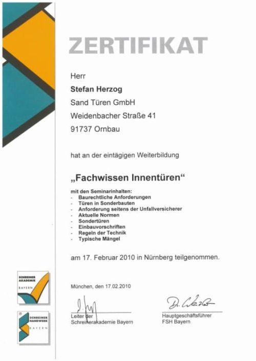 Zertifikat Fachwissen Innentüren