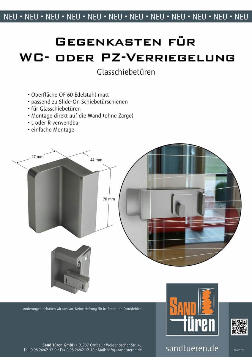 Gegenkasten für WC- oder PZ-Verriegelung Glasschiebetür