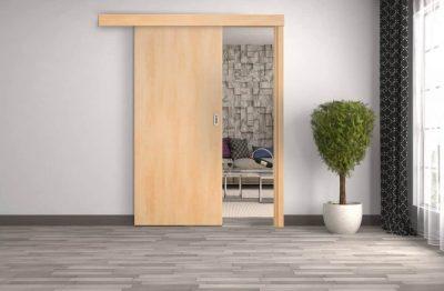 Startseite - Schiebetür vor der Wand laufend - Holzzarge Kasten