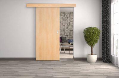 Schiebetür mit Holzkasten ohne Zarge
