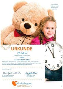 Soziales - Kinderherzen Urkunde 20 Jahre