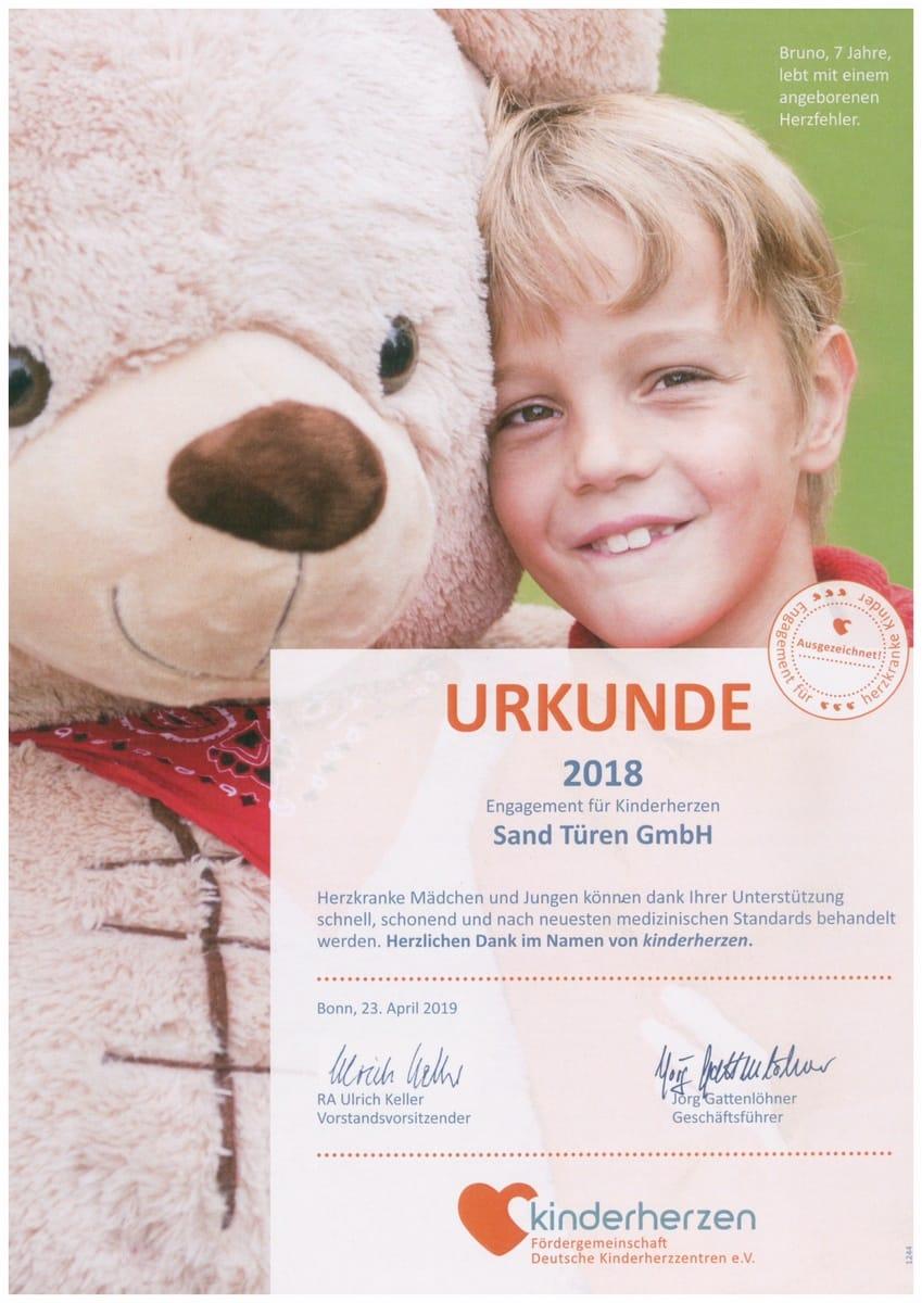 Soziales - Kinderherzen Urkunde 2018