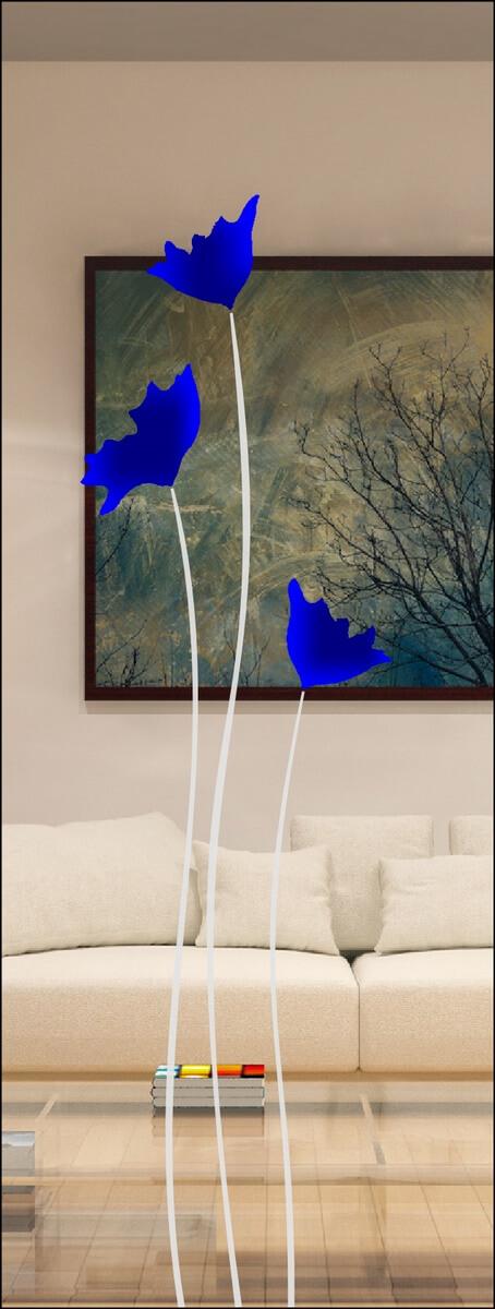 Rubin 044 - sandgestrahlt, Farbguss blau