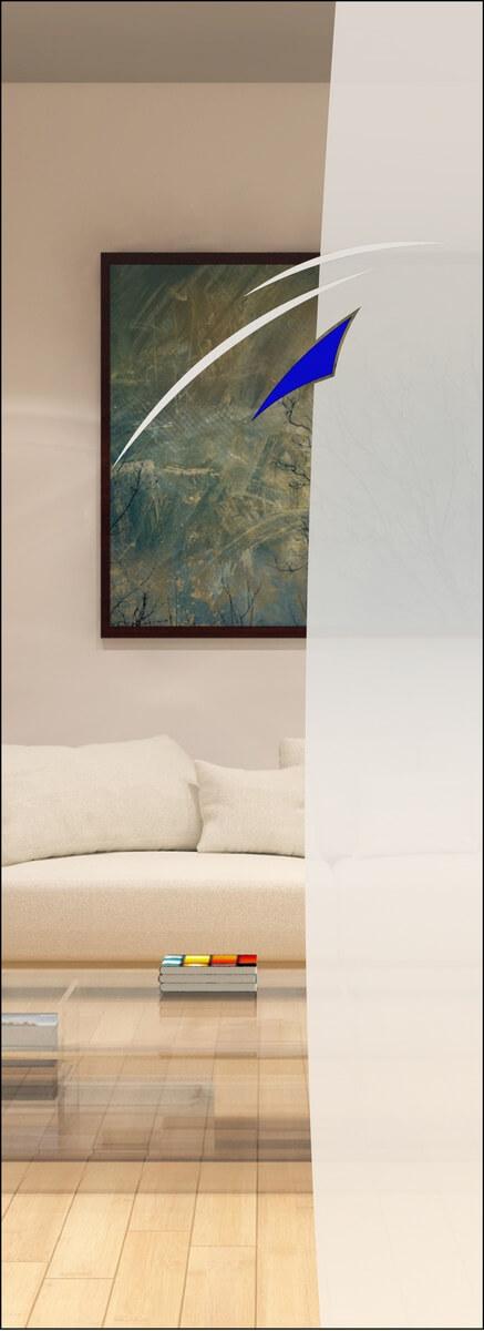 Rubin 002 - sandgestrahlt in 2 Dichten, Farbguss blau