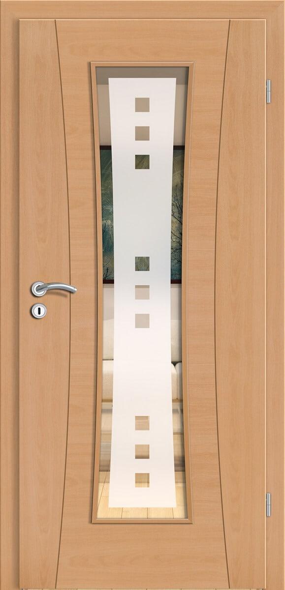 Intarsientür Rimini i15 Buche Natur quer und längs - LMB - Quadro 9 negativ mit Rand