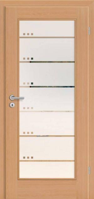 Landhaustür Helsinki 1F Buche Natur - LA1 flächenbündig - Glasrahmen - Rubin 102 negativ